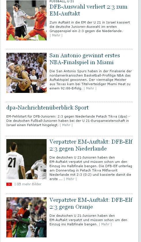 Ein Screenshot von echo-online.de