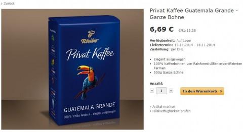 Dieser Kaffee soll kurzfristig nicht lieferbar gewesen sein.